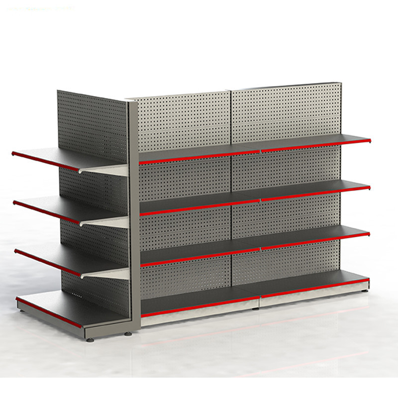retail store double sided cheap metal pegboard rack merchandise display supermarket gondola shelf