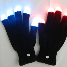 Fingertips Shining LED Black Glove accept 1-2 colors