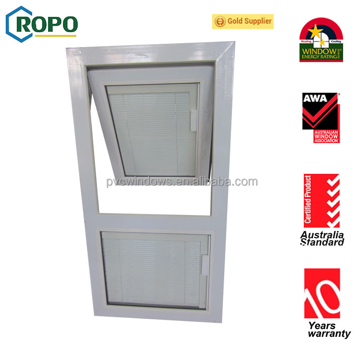 Australia AS2047 standards Double glazed Top hung open out windows with roll up fly screen