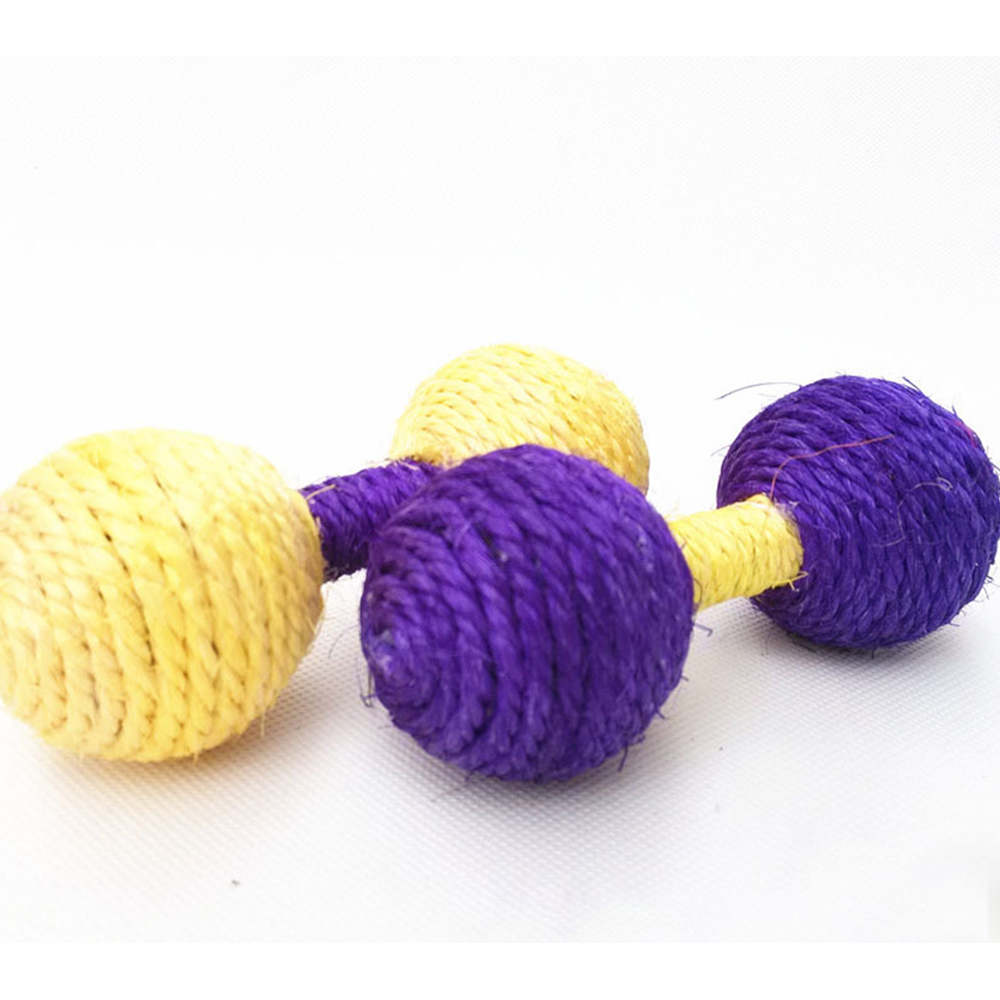 Natural Sisal Cat Scratching Toy Barbell Toy Durable Dog Chew Toys