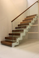 Modern solid wood stairs design with timber wood handrail and step