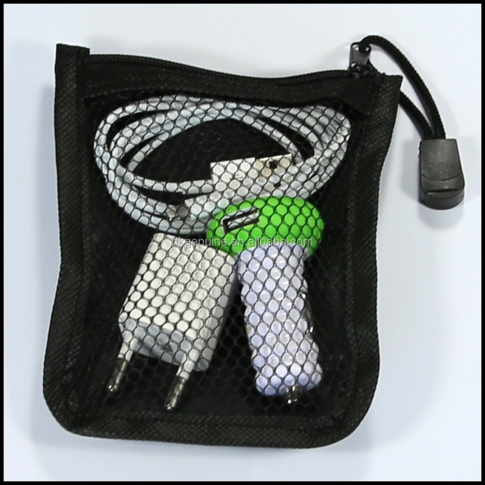 Under 1 dollar promotion gift small Polyester Pouch earphone cable pouch Organizer pouch