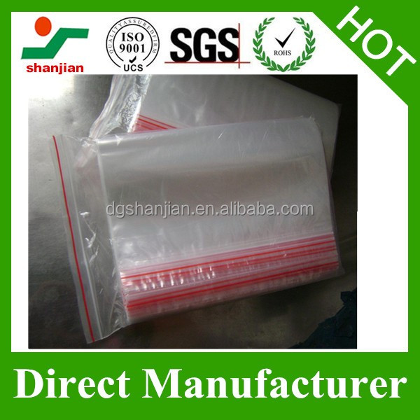 small size zipper lock transparent clear PE plastic bag with printing