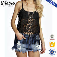 Black Rose sexy womens tops Spaghetti Strap wholesale lace clothing