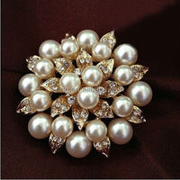 "Big 2"" Faux Pearl Rhinestone Crystal Vintage Flower Brooch Pin Brooches"