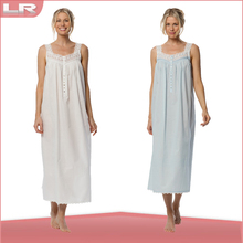 Strap long ankle length 100% Cotton lawn ladies gown