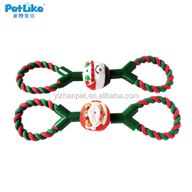 dog XMAS ROPE PULL toy with vinyl chew toy Unique pet products wholesale tiny toy for puppy