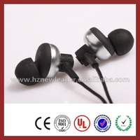 fashion black non-elastic braid earphone/earbuds/earsetsfor iphone and mobile phone
