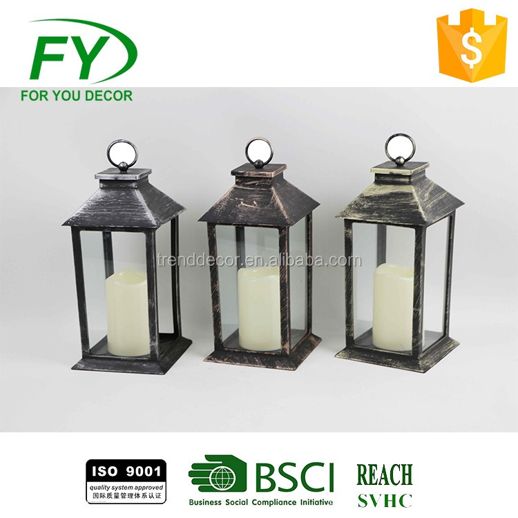Plastic home outdoor camping LED candle lantern without battery