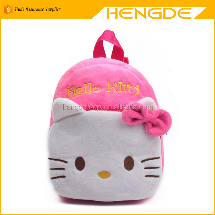 2016 high quality rose red hello kitty plush cartoon toy backpack girl character school bag
