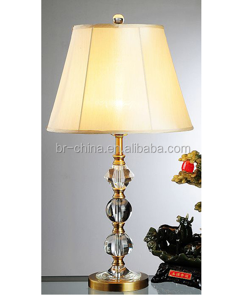 CE/SASO antique crystal decoration brass table lamp for bedroom