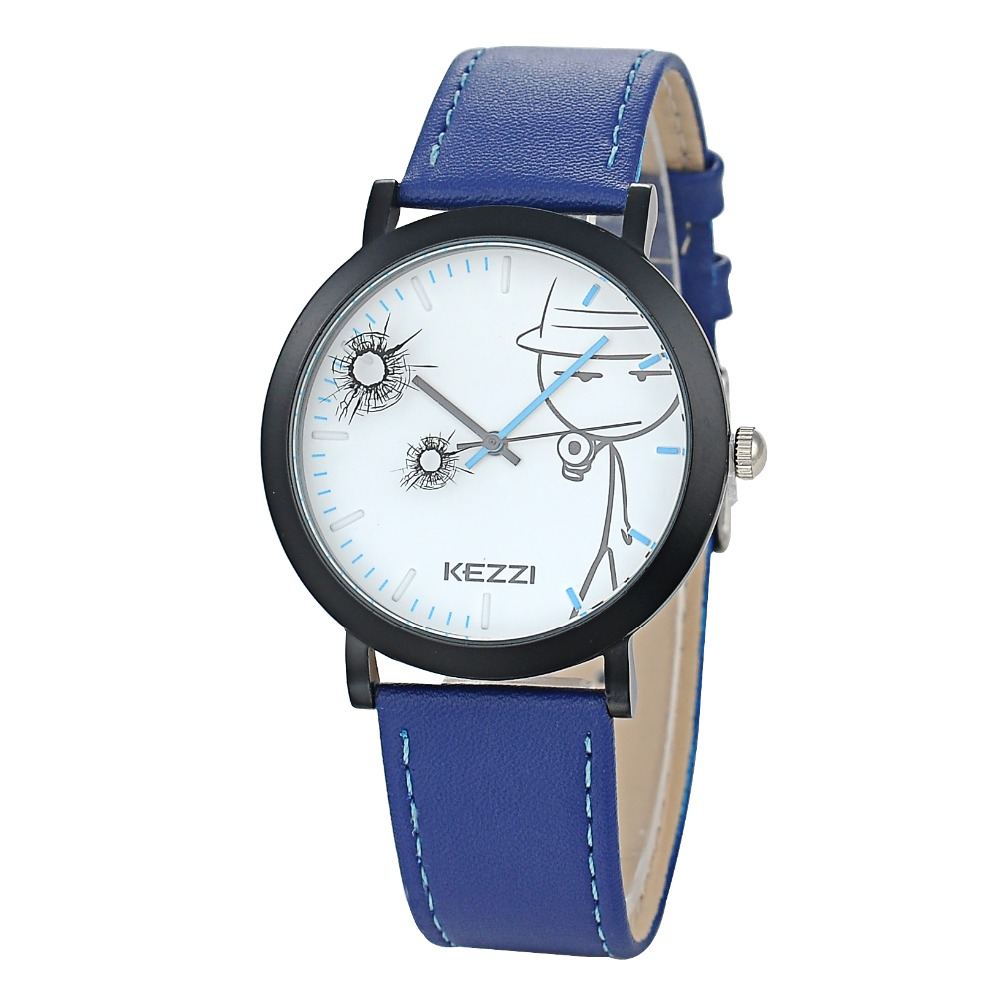 KEZZI Brand Funny Bullet Hole Pattern Watch Men Leather Strap Watch Japan Quartz Watch
