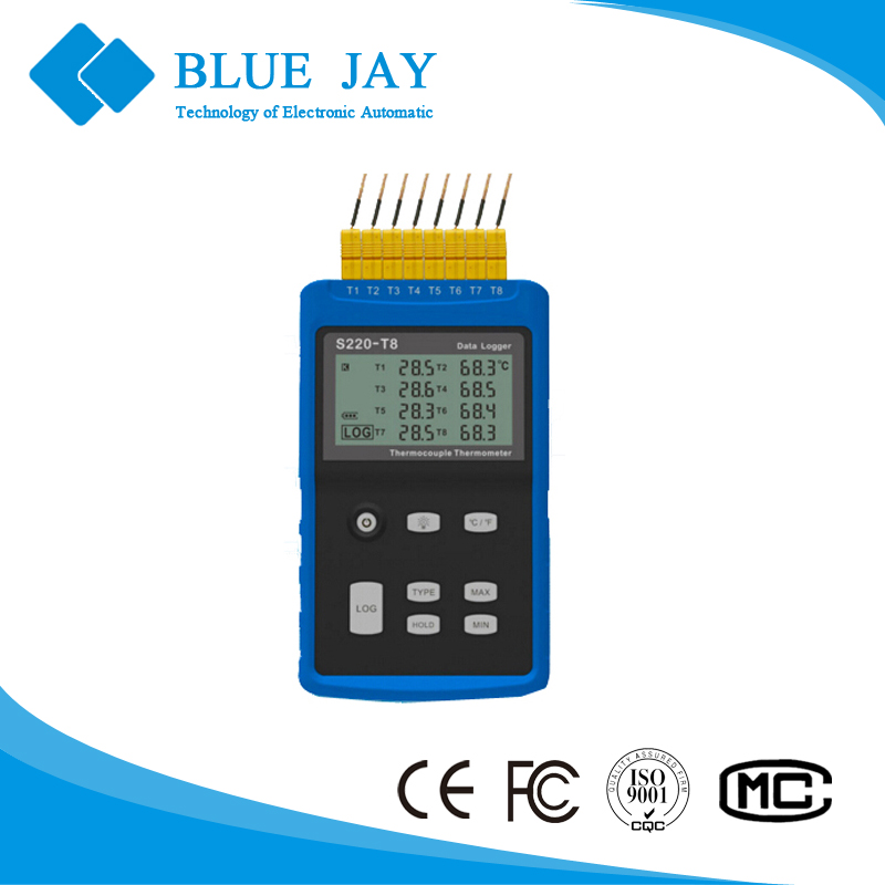 S220-T8 Eight Channels LCD Display Thermocouple Temperature Data logger with Data Logging <strong>Max</strong> 43000