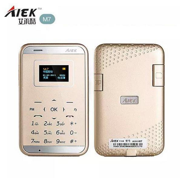 New Arrive Aiek M7 Mini card phone 1.0 Inch Daul Band Ultra-thin Pocket Touch Mobile Cell Phone MP3 Bluetooth aiek m3 Cell Phone