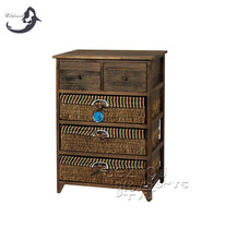 Wholesale cheap wooden storage cabinet with woven basket