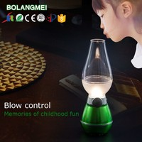 Retro Blowing Control Blow LED Lamp USB Powered Charging Kerosene Oil Lamp Design,Blow LED Light,LED table desk lamp