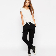 Womens new fashion casual jogger <span class=keywords><strong>calças</strong></span> e <span class=keywords><strong>calças</strong></span> em branco preto