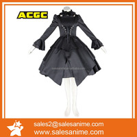 OEM high quality black long Sleeves lolita Satin dress Classic lace medieval gothic dress