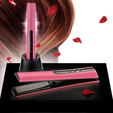 Newest Portable Mini Flat Iron Travel Use Rechargeable USB Battery Powered Cordless Hair Straightener With Holder