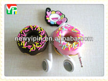 Lovely custom cheap soft silicone unique doughnut earphone headphones retractable cable winder