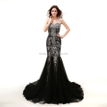 Best Selling pictures of latest gowns designs black lace 2017 bridal wedding dress