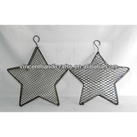 Rustic antique wall decor hanging metal wire mesh barn star box