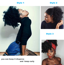 Cute Big Curly Puff Natural Black Jerry Curly Ponytail Synthetic Hair bun accessories