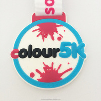 Custom Running Races Plastic Medal/Award/Gift /Souvenir for Children attached with custom ribbon with logo as pvc medal