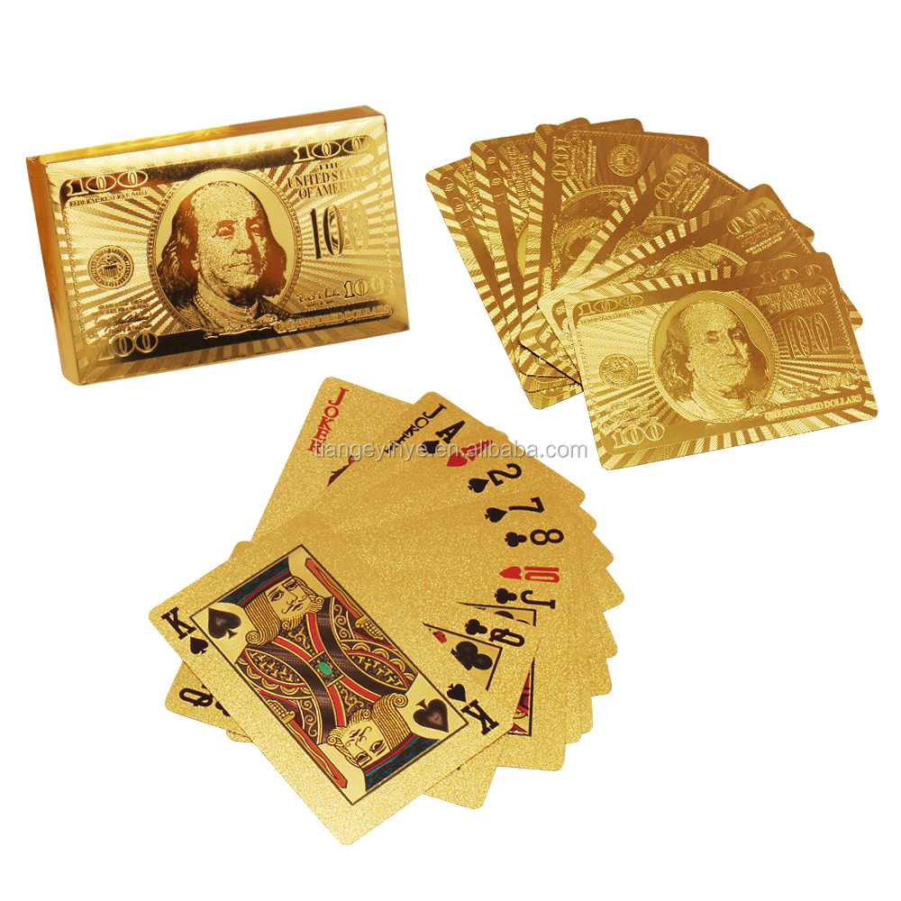 Wholesale Certified Pure 24 <strong>K</strong> Carat Gold Foil Plated Poker Playing Cards for Souvenir
