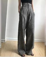 5916 Runwaylover sexy ladies linen stripe sexy loose pants