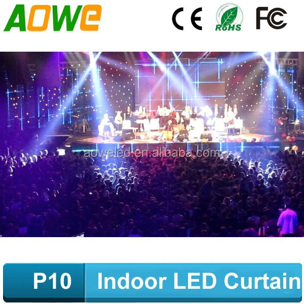 2015 Light weight led curtain mesh/transparent led display curtain/led video background panel