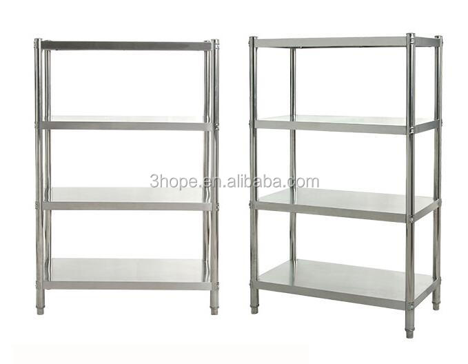 Restaurant Kitchen Stainless Steel Shelves/4 Tiers Adjustable Chrome Closet Wire Shelving