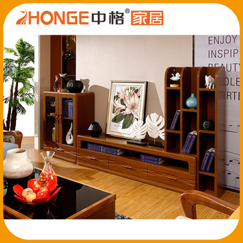 Living Room Furniture Pictures New Model Design Wooden TV Table with Showcase