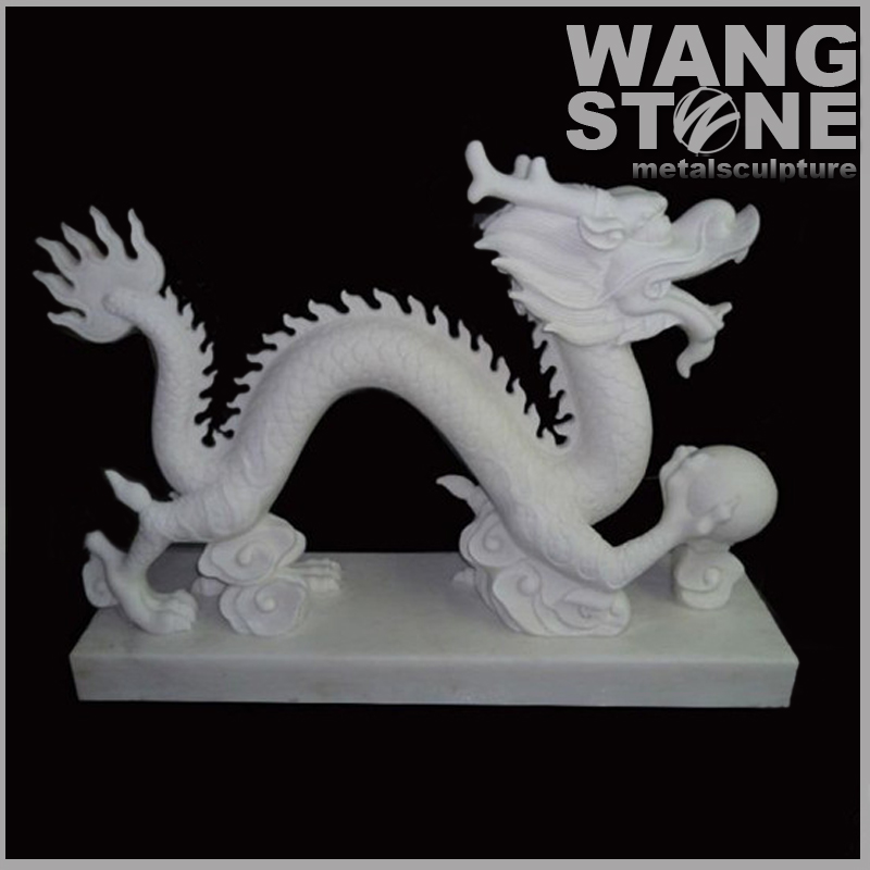 Chinese Stone Carved Garden Dragon Statue For Sale