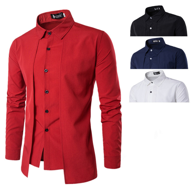 A3839 Mens Dress Shirt Pure Cotton Easy Quick Iron Long Sleeve Red Dress Shirts