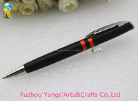 Black plastic pen with metal accessories and two key ring logo