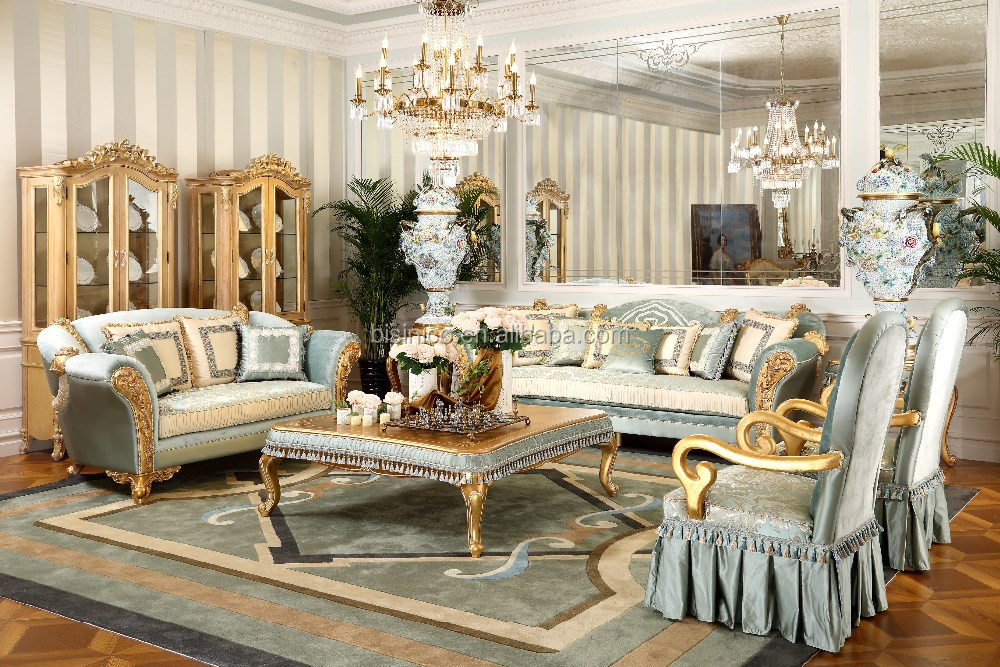 French Style Solid Wood Genuine Leather Luxurious Living Room Sofa Set Europe