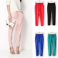 Casual Women Trousers Solid Color Drawstring Elastic Waist Comfy Full Length Chiffon Harem pants