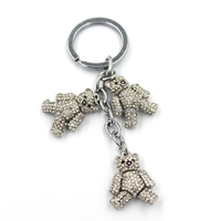 fashion crystal bear pendants string stainless alloy keychain