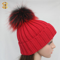 Red Knitted Fashion Cheap Winter Hats Raccoon Fur Ball Hats for Women