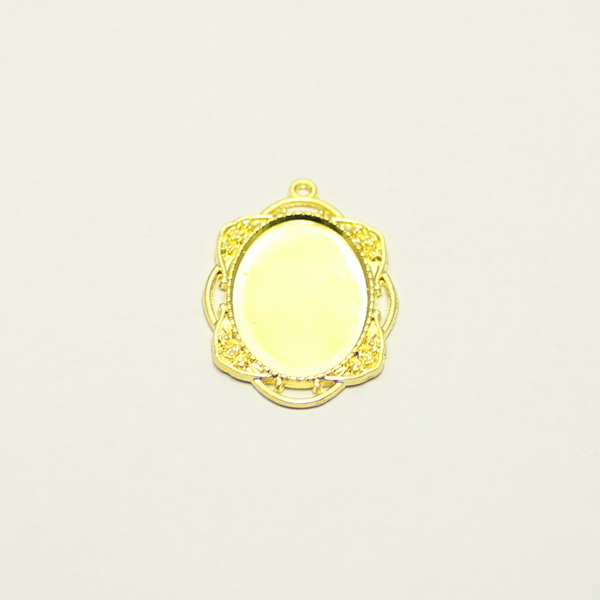 43mm zinc alloy smooth gold filled mirror charms