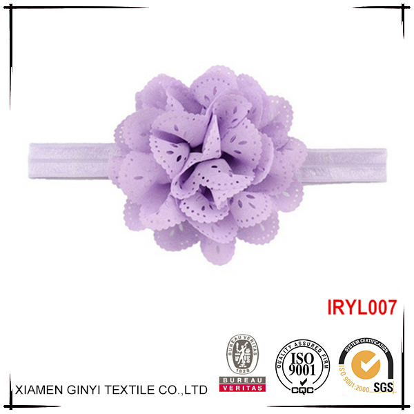 Top quality custom fashion ribbon flower elastic headband baby