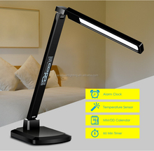 Christmas promotional Dimmable touch LED Desk Lamps with perpetual calendar based on real-time clock and LCD