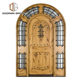 Double Main Arched top entry Door American rustic knotty alder mahogany wooden entry door