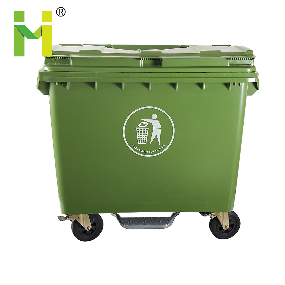 660L Large Size Outerdoor wheelie industrial Plastic garbage can waste bin with Wheels for Sale