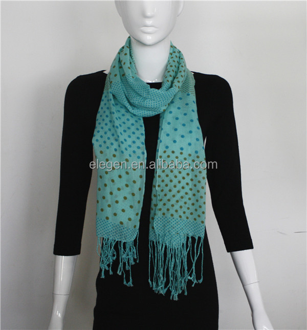 Acrylic Cashmerefeel dot print long big scarf/shawl with fringe