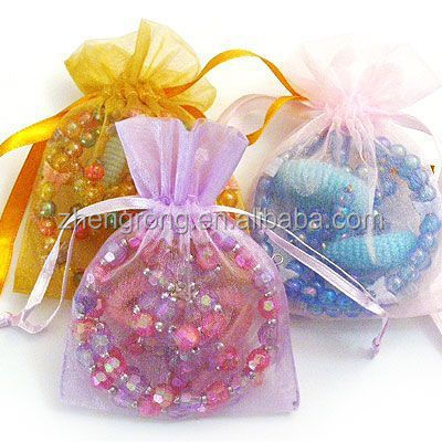 2017 Wholesale Embroidered Organza Gift Fabric Bag