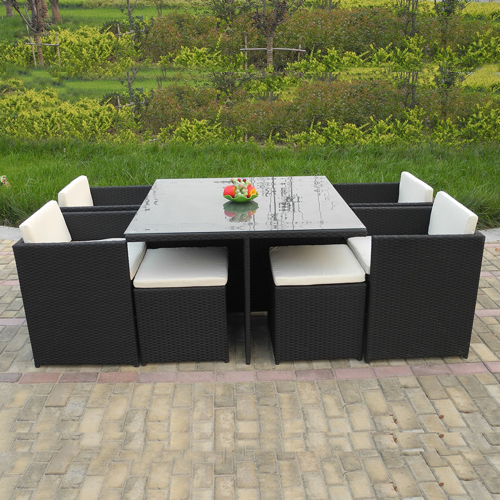 Hot sell philippines outdoor rattan furniture dining table set with stool for RH10