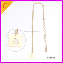 CN81738 Fashion hollow out sailing boat jewelry 16K plated gold necklace with pendant