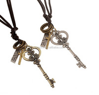 Punk rock necklace Key pendant with real leather cord necklace cheap necklace pendants